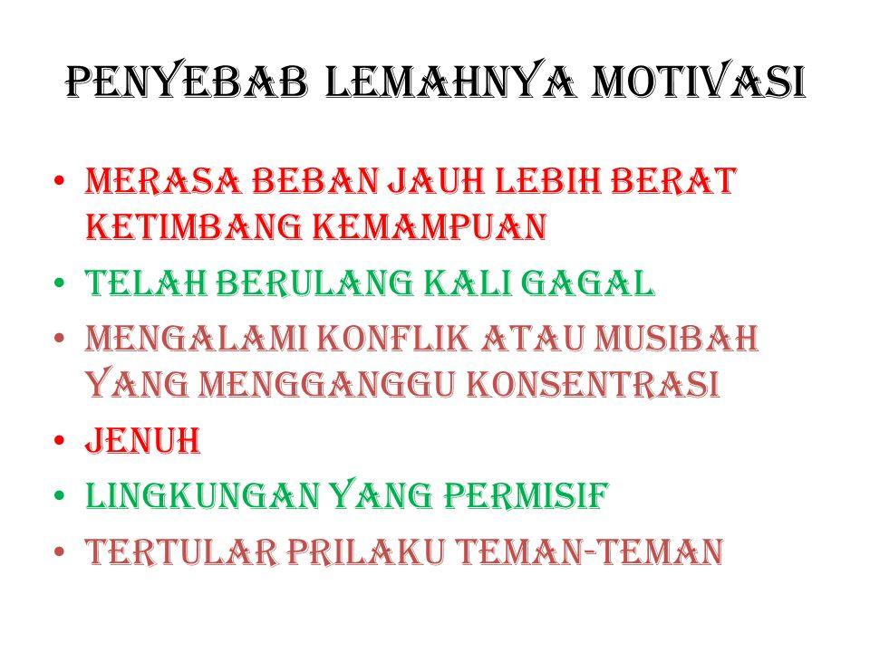 Menurunnya motivasi bisa disebabkan faktor ekstern, intern ataupun gabungan dari keduanya
