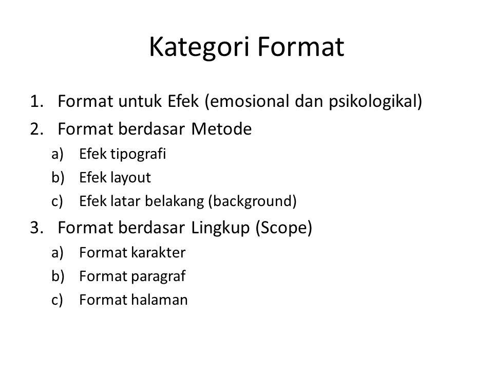 Kategori Format 1.Format untuk Efek (emosional dan psikologikal) 2.Format berdasar Metode a)Efek tipografi b)Efek layout c)Efek latar belakang (backgr
