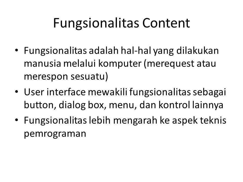 Fungsionalitas Content Fungsionalitas adalah hal-hal yang dilakukan manusia melalui komputer (merequest atau merespon sesuatu) User interface mewakili