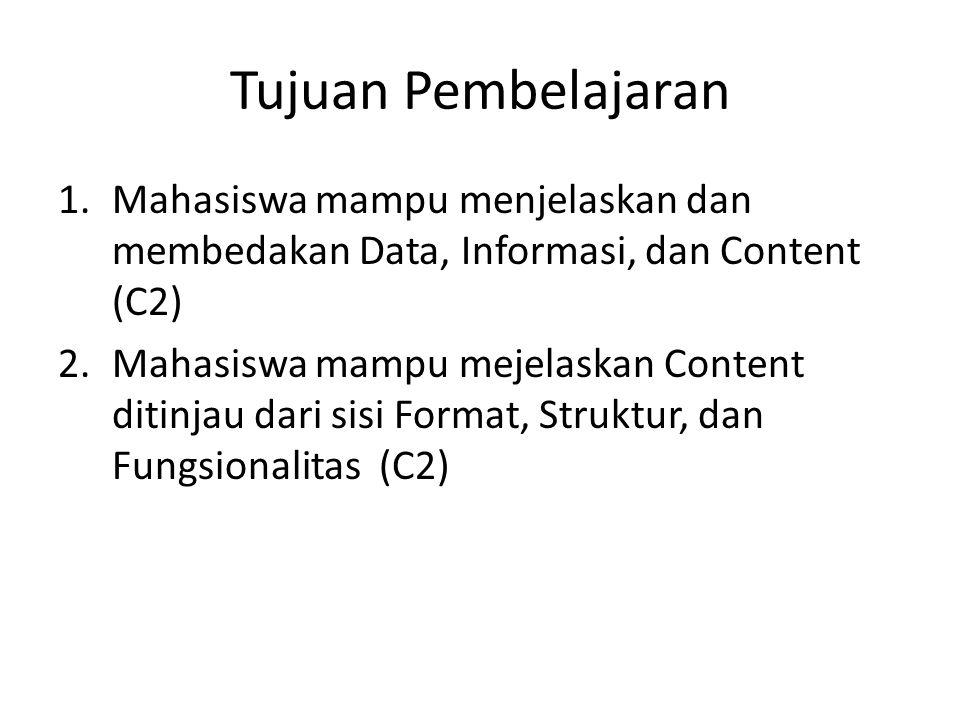 Tujuan Pembelajaran 1.Mahasiswa mampu menjelaskan dan membedakan Data, Informasi, dan Content (C2) 2.Mahasiswa mampu mejelaskan Content ditinjau dari