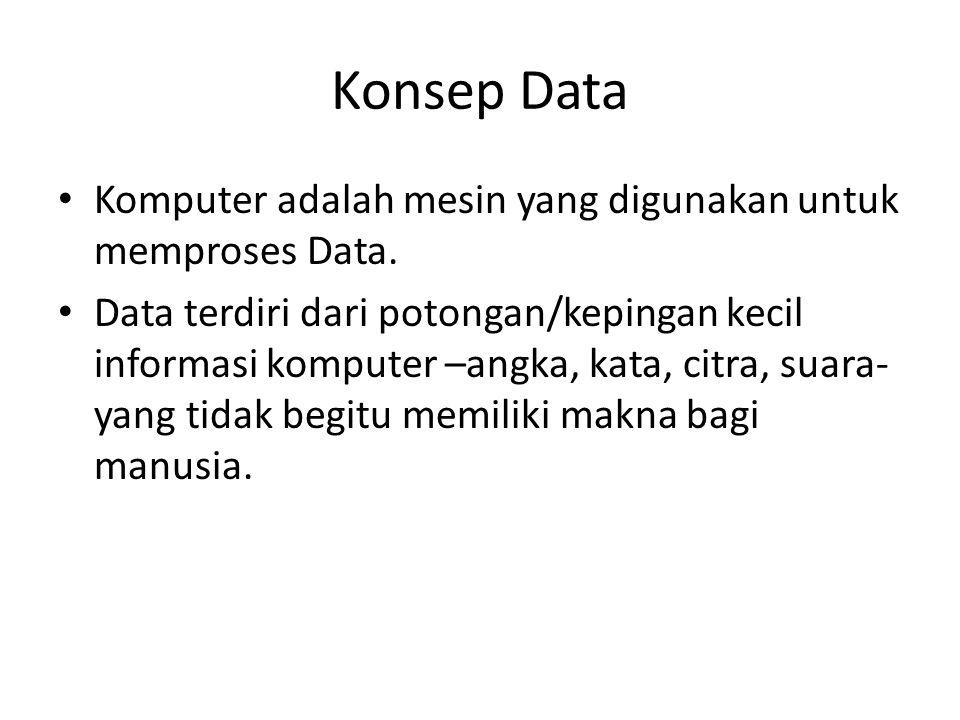 Konsep Data Komputer adalah mesin yang digunakan untuk memproses Data. Data terdiri dari potongan/kepingan kecil informasi komputer –angka, kata, citr