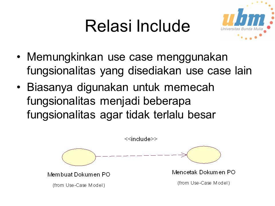 Relasi Include Memungkinkan use case menggunakan fungsionalitas yang disediakan use case lain Biasanya digunakan untuk memecah fungsionalitas menjadi