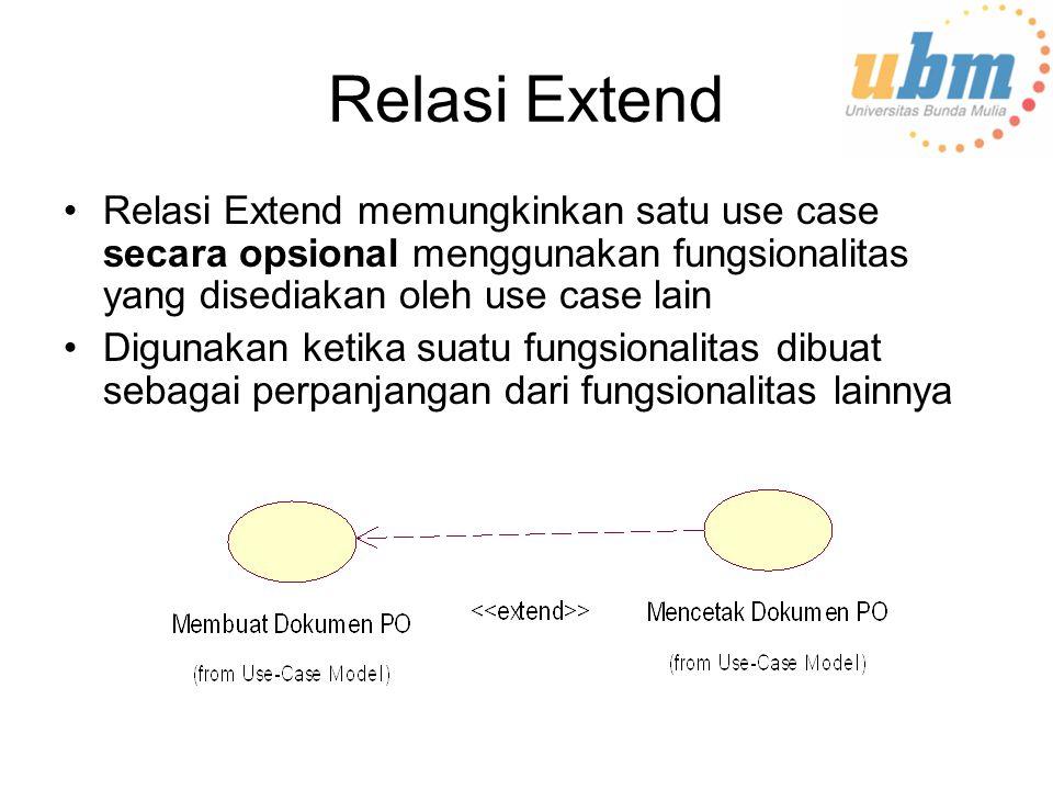 Relasi Extend Relasi Extend memungkinkan satu use case secara opsional menggunakan fungsionalitas yang disediakan oleh use case lain Digunakan ketika