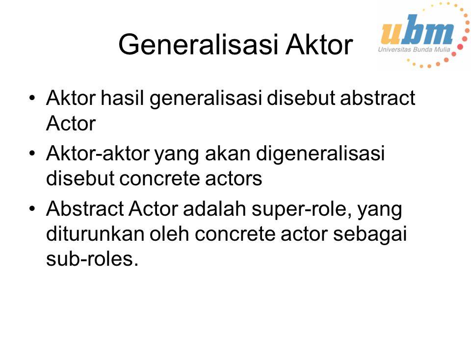Generalisasi Aktor Aktor hasil generalisasi disebut abstract Actor Aktor-aktor yang akan digeneralisasi disebut concrete actors Abstract Actor adalah