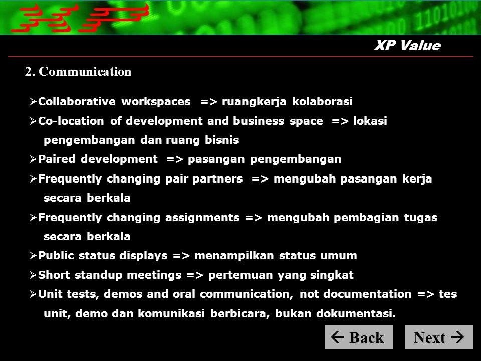 XP Value 2. Communication  Collaborative workspaces => ruangkerja kolaborasi  Co-location of development and business space => lokasi pengembangan d