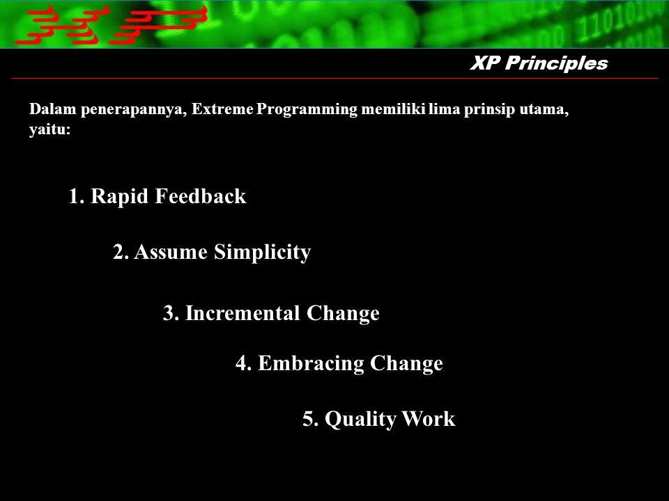 XP Principles Dalam penerapannya, Extreme Programming memiliki lima prinsip utama, yaitu: 1. Rapid Feedback 2. Assume Simplicity 3. Incremental Change
