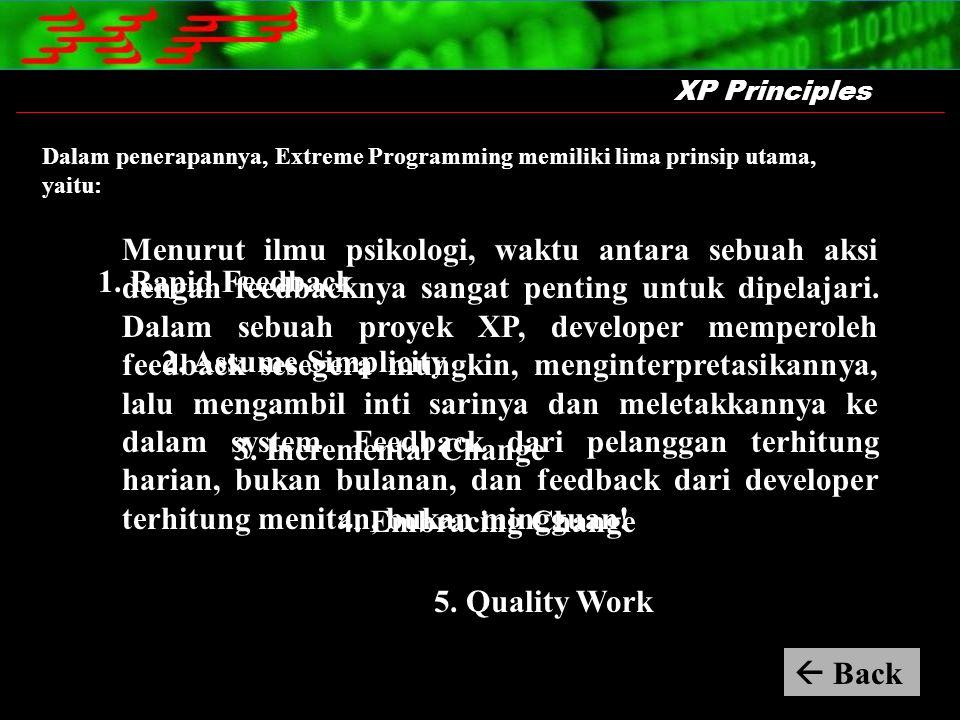 XP Principles Menurut ilmu psikologi, waktu antara sebuah aksi dengan feedbacknya sangat penting untuk dipelajari. Dalam sebuah proyek XP, developer m