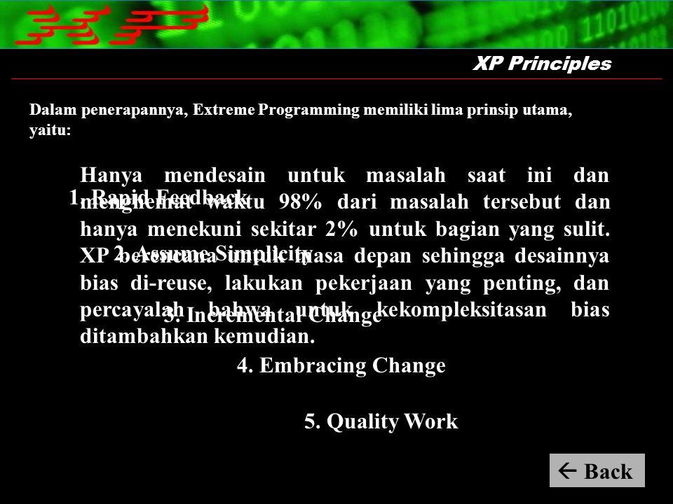 Hanya mendesain untuk masalah saat ini dan menghemat waktu 98% dari masalah tersebut dan hanya menekuni sekitar 2% untuk bagian yang sulit. XP berenca