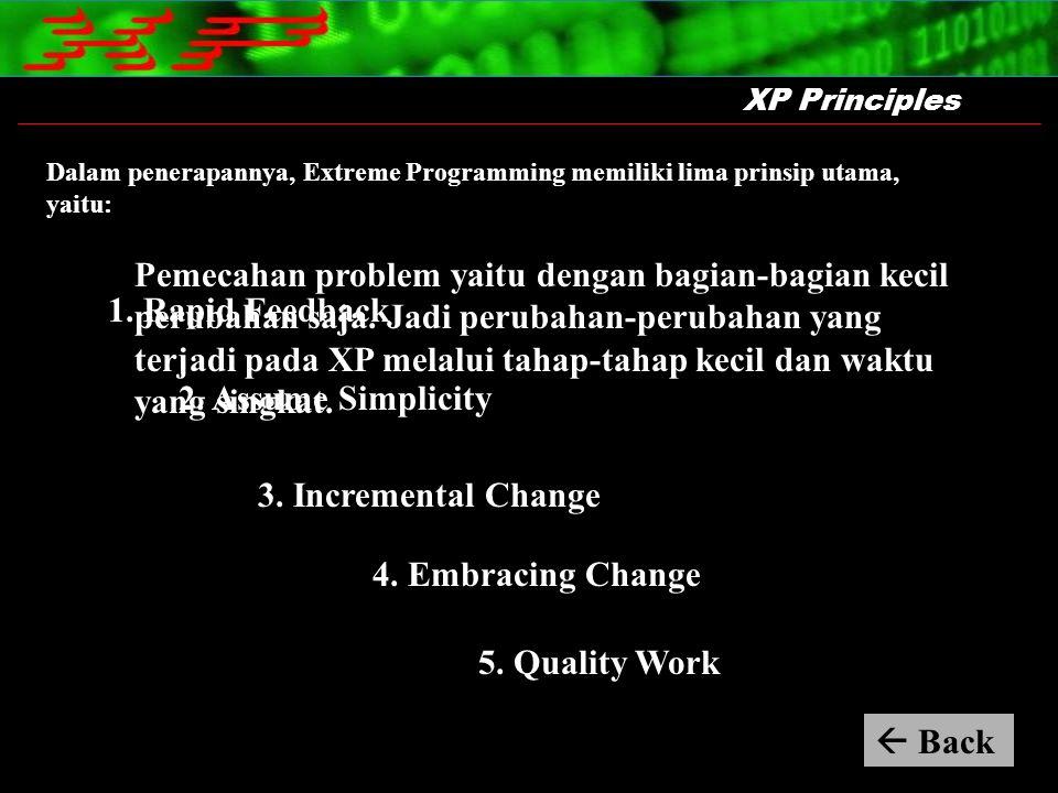 Dalam penerapannya, Extreme Programming memiliki lima prinsip utama, yaitu: XP Principles Pemecahan problem yaitu dengan bagian-bagian kecil perubahan