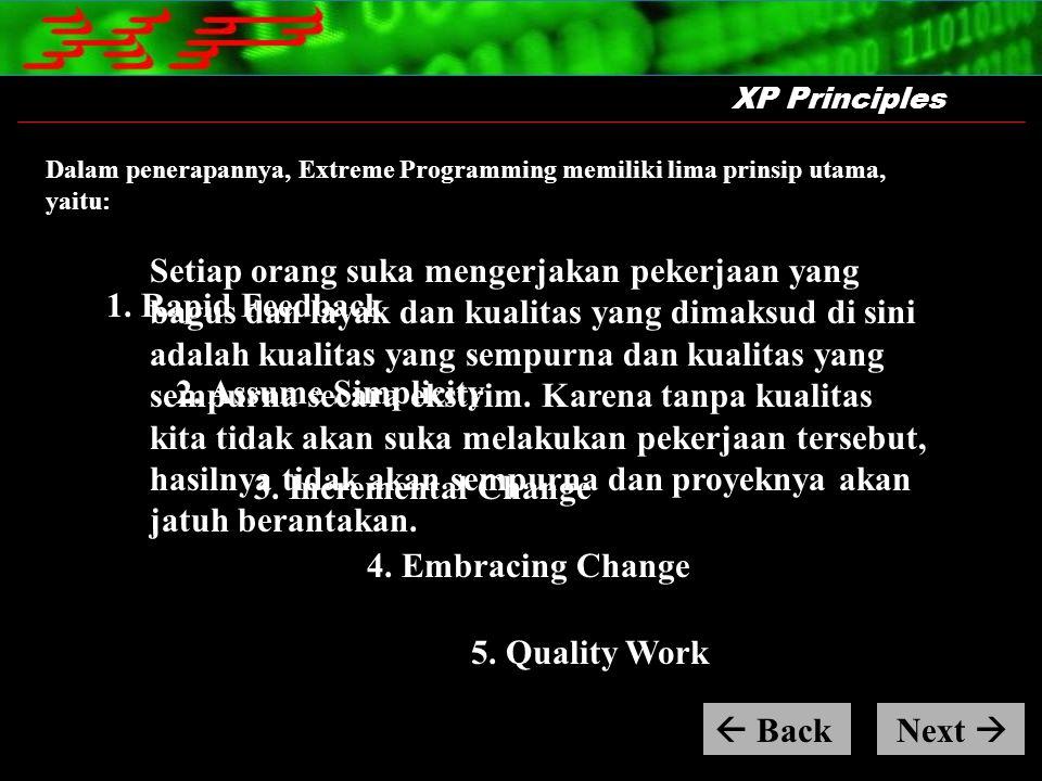 Dalam penerapannya, Extreme Programming memiliki lima prinsip utama, yaitu: XP Principles Setiap orang suka mengerjakan pekerjaan yang bagus dan layak