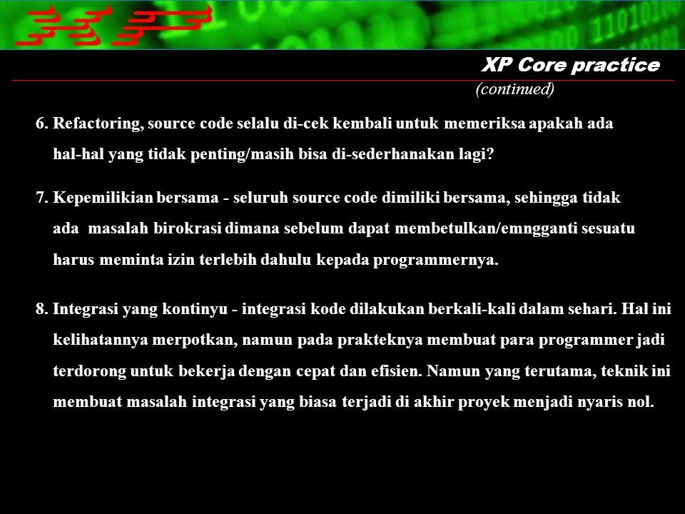 XP Core practice 6. Refactoring, source code selalu di-cek kembali untuk memeriksa apakah ada hal-hal yang tidak penting/masih bisa di-sederhanakan la