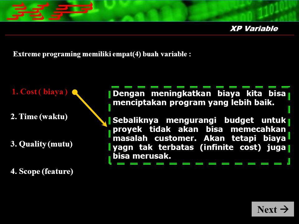 1. Cost ( biaya ) XP Variable Extreme programing memiliki empat(4) buah variable : Dengan meningkatkan biaya kita bisa menciptakan program yang lebih