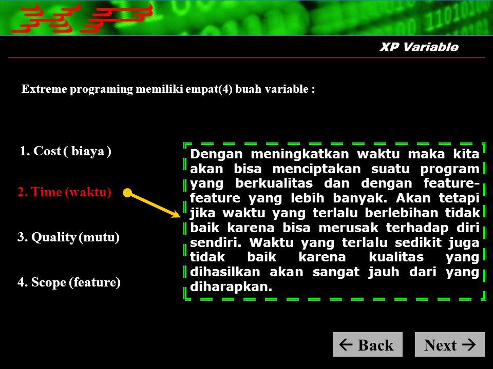 XP Variable Extreme programing memiliki empat(4) buah variable : Dengan meningkatkan waktu maka kita akan bisa menciptakan suatu program yang berkuali