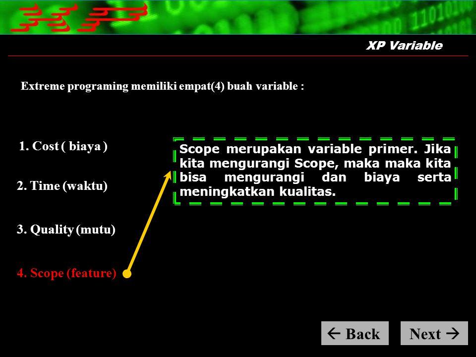 XP Variable Extreme programing memiliki empat(4) buah variable : Scope merupakan variable primer. Jika kita mengurangi Scope, maka maka kita bisa meng