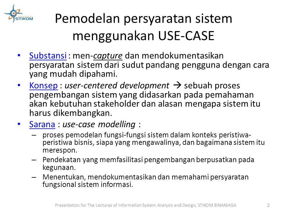 Pemodelan persyaratan sistem menggunakan USE-CASE Manfaat : 1.Menyediakan tools untuk meng-capture persyaratan fungsional.