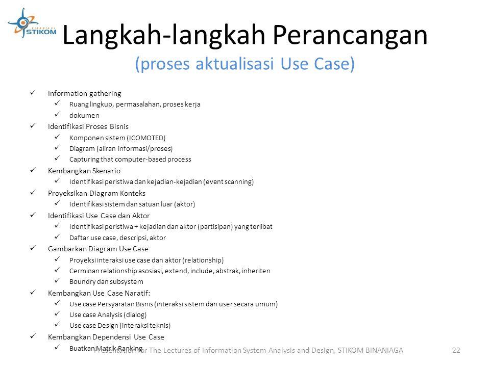 Langkah-langkah Perancangan (proses aktualisasi Use Case) Information gathering Ruang lingkup, permasalahan, proses kerja dokumen Identifikasi Proses