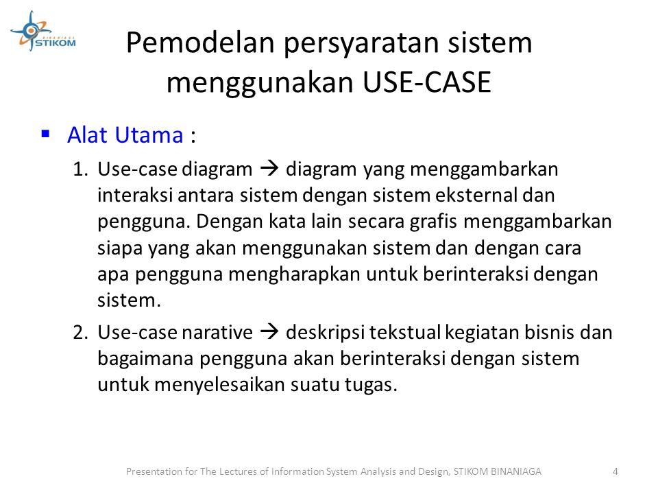Pemodelan persyaratan sistem menggunakan USE-CASE Use case  urutan langkah-langkah yang secara tindakan saling terkait (skenario), baik terotomatisasi maupun secara manual, untuk tujuan melengkapi satu tugas bisnis tunggal.