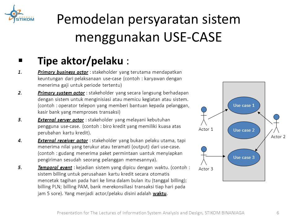 Relationship Hubungan yang terjadi antar simbol dalam use case Menggunakan garis dan tipe simbol yang digunakan untuk menghubungkan garis.