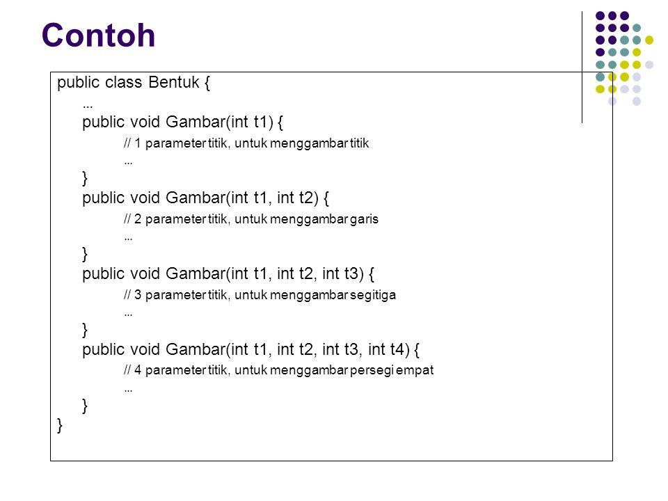 Contoh public class Bentuk { … public void Gambar(int t1) { // 1 parameter titik, untuk menggambar titik … } public void Gambar(int t1, int t2) { // 2