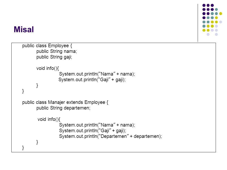 "Misal public class Employee { public String nama; public String gaji; void info(){ System.out.println( "" Nama "" + nama); System.out.println( "" Gaji """