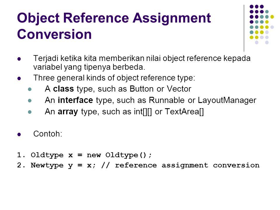 Object Reference Assignment Conversion Terjadi ketika kita memberikan nilai object reference kepada variabel yang tipenya berbeda. Three general kinds