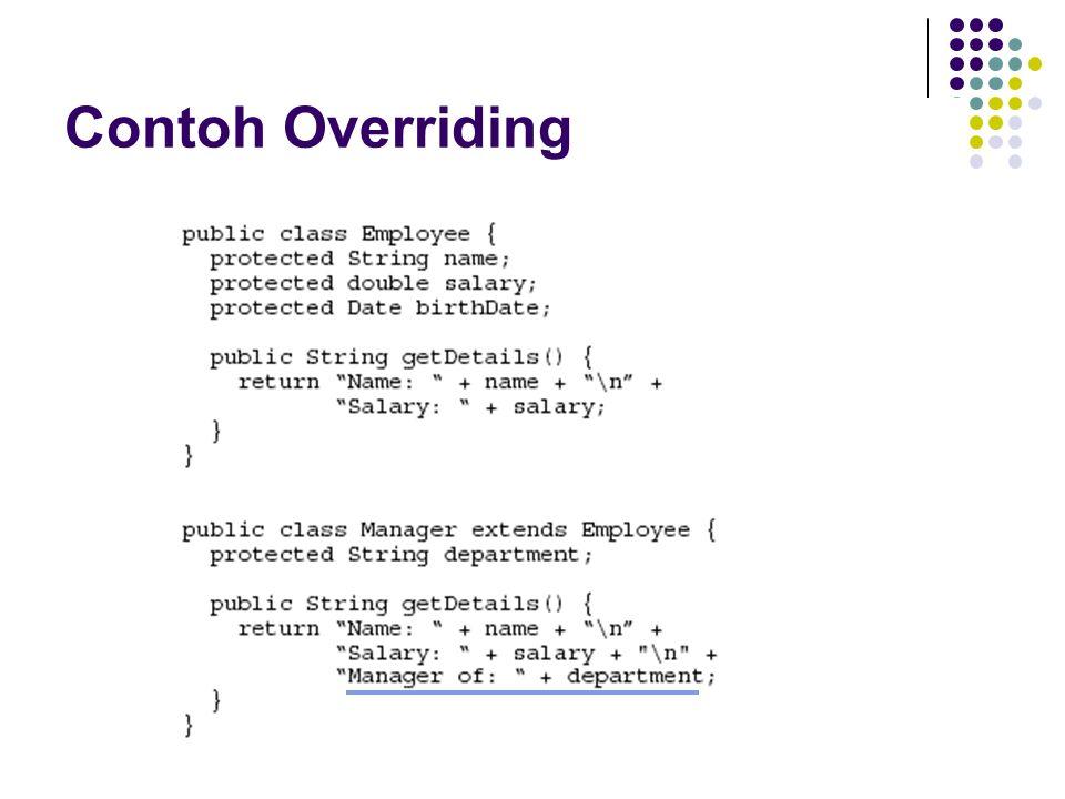 Contoh Virtual Method Invocation class Employee{} class Manager extends Employee{} Class Tes{ … Employee emp = new Manager(); emp.info(); }