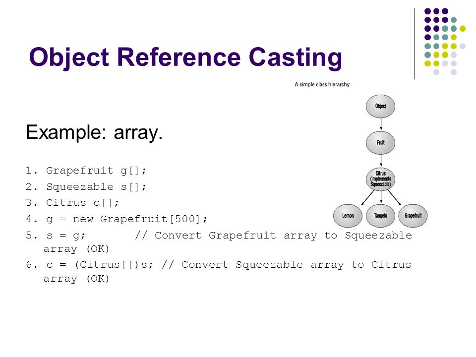 Object Reference Casting Example: array. 1. Grapefruit g[]; 2. Squeezable s[]; 3. Citrus c[]; 4. g = new Grapefruit[500]; 5. s = g; // Convert Grapefr