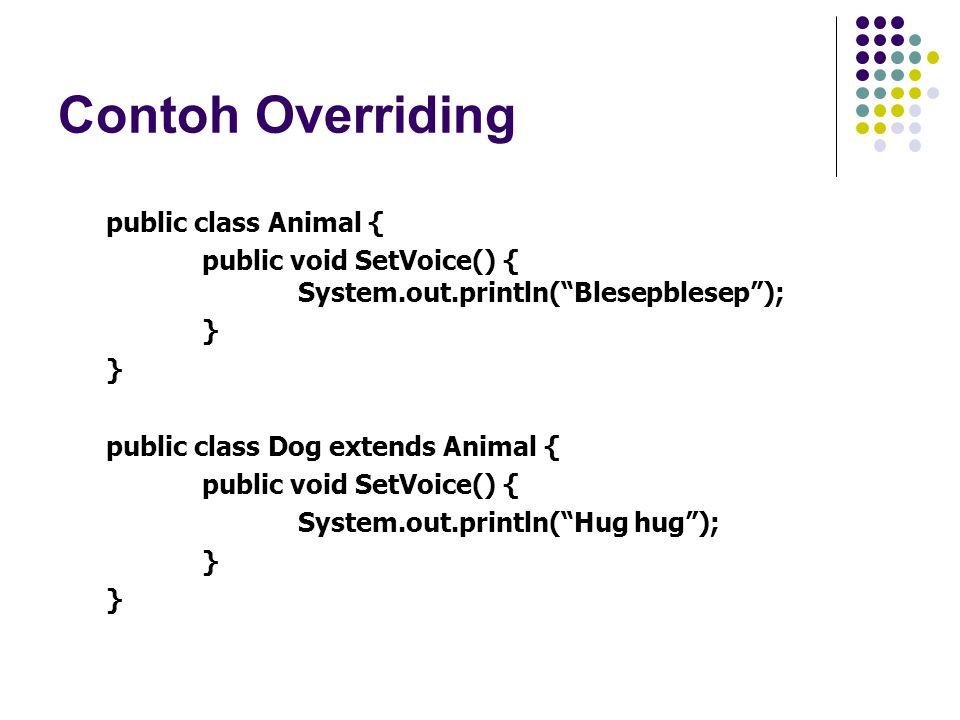 Virtual Method Invocation Yang terjadi pada contoh: Obyek e mempunyai behavior yang sesuai dengan runtime type bukan compile type.