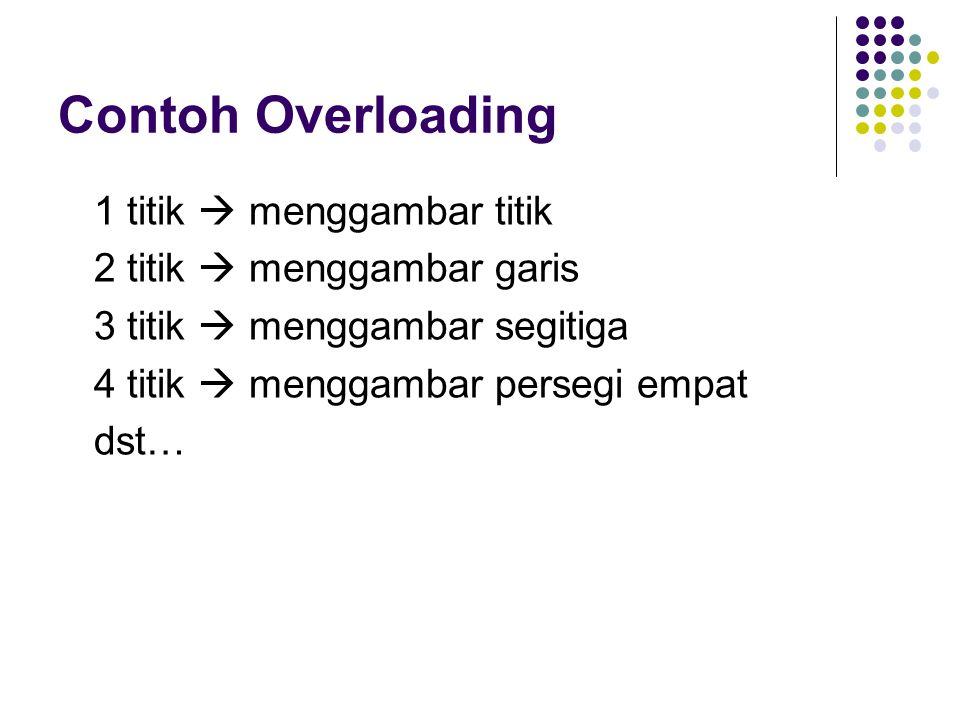 Virtual Method Invocation pada C++ Pada method yang akan dilakukan VMI harus ditandai dengan kata virtual.