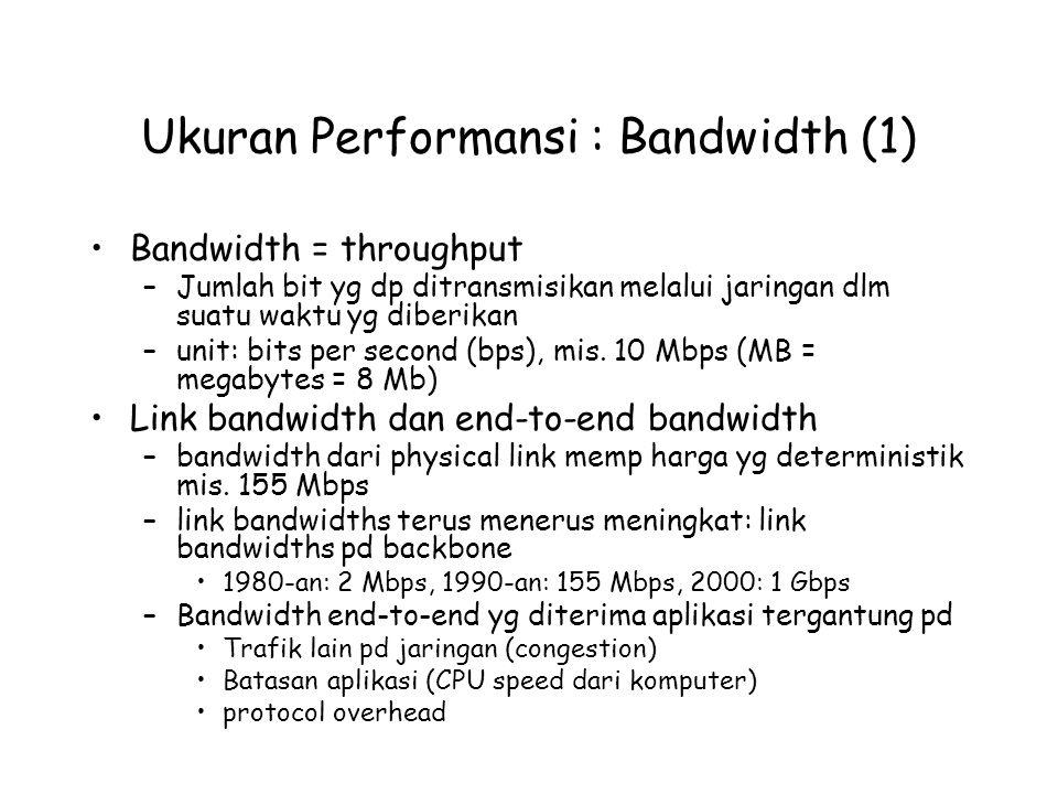 Ukuran Performansi : Bandwidth (1) Bandwidth = throughput –Jumlah bit yg dp ditransmisikan melalui jaringan dlm suatu waktu yg diberikan –unit: bits per second (bps), mis.