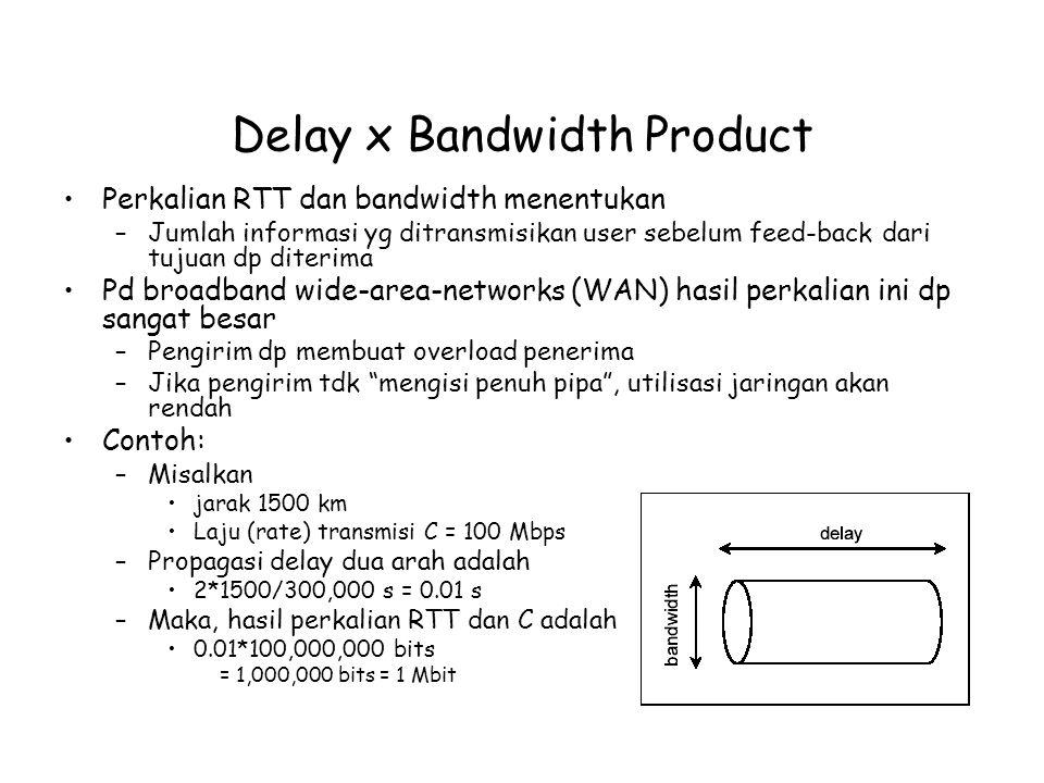 Delay x Bandwidth Product Perkalian RTT dan bandwidth menentukan –Jumlah informasi yg ditransmisikan user sebelum feed-back dari tujuan dp diterima Pd broadband wide-area-networks (WAN) hasil perkalian ini dp sangat besar –Pengirim dp membuat overload penerima –Jika pengirim tdk mengisi penuh pipa , utilisasi jaringan akan rendah Contoh: –Misalkan jarak 1500 km Laju (rate) transmisi C = 100 Mbps –Propagasi delay dua arah adalah 2*1500/300,000 s = 0.01 s –Maka, hasil perkalian RTT dan C adalah 0.01*100,000,000 bits = 1,000,000 bits = 1 Mbit