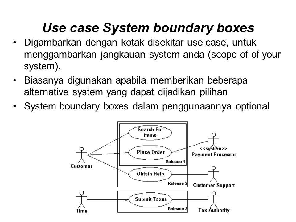 Use case System boundary boxes Digambarkan dengan kotak disekitar use case, untuk menggambarkan jangkauan system anda (scope of of your system).