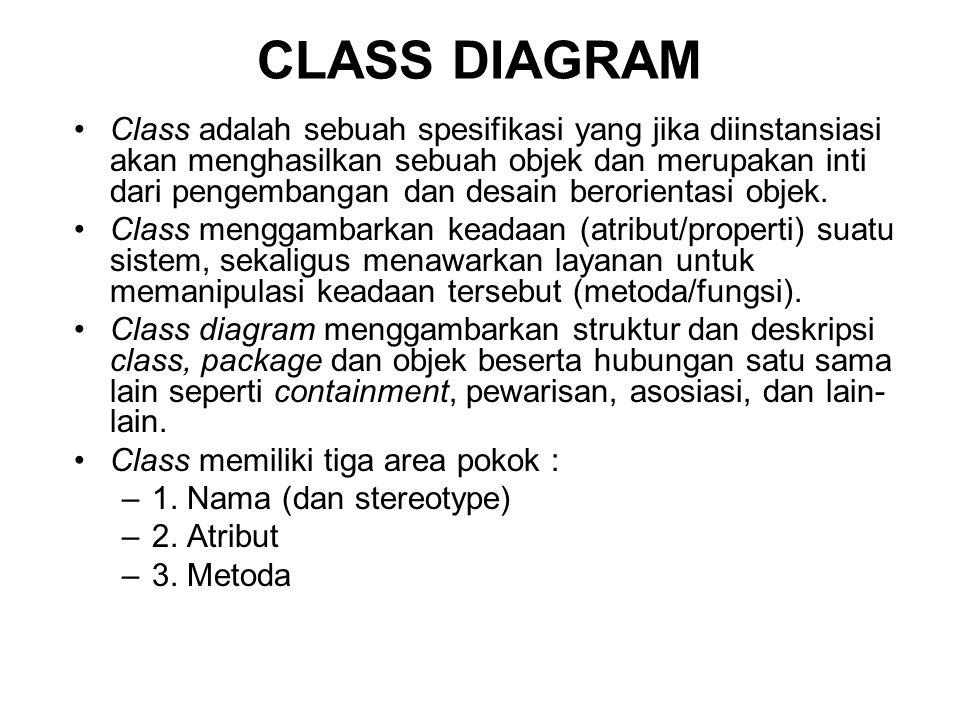 Class adalah sebuah spesifikasi yang jika diinstansiasi akan menghasilkan sebuah objek dan merupakan inti dari pengembangan dan desain berorientasi objek.