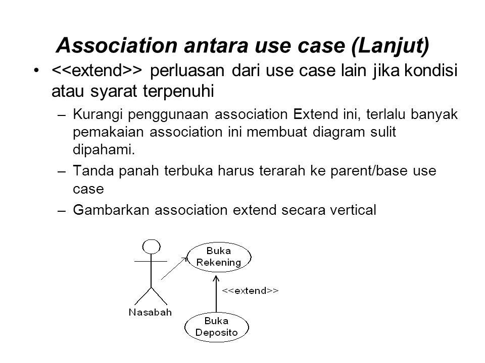 > perluasan dari use case lain jika kondisi atau syarat terpenuhi –Kurangi penggunaan association Extend ini, terlalu banyak pemakaian association ini membuat diagram sulit dipahami.
