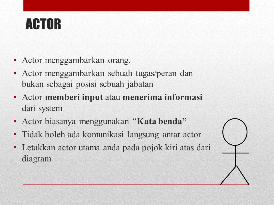 ACTOR Actor menggambarkan orang. Actor menggambarkan sebuah tugas/peran dan bukan sebagai posisi sebuah jabatan Actor memberi input atau menerima info