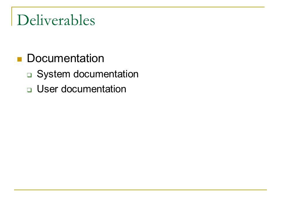 Deliverables Documentation  System documentation  User documentation