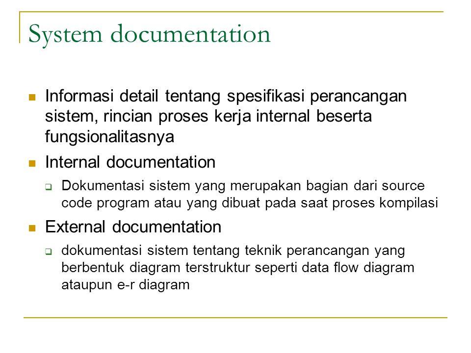 System documentation Informasi detail tentang spesifikasi perancangan sistem, rincian proses kerja internal beserta fungsionalitasnya Internal documen