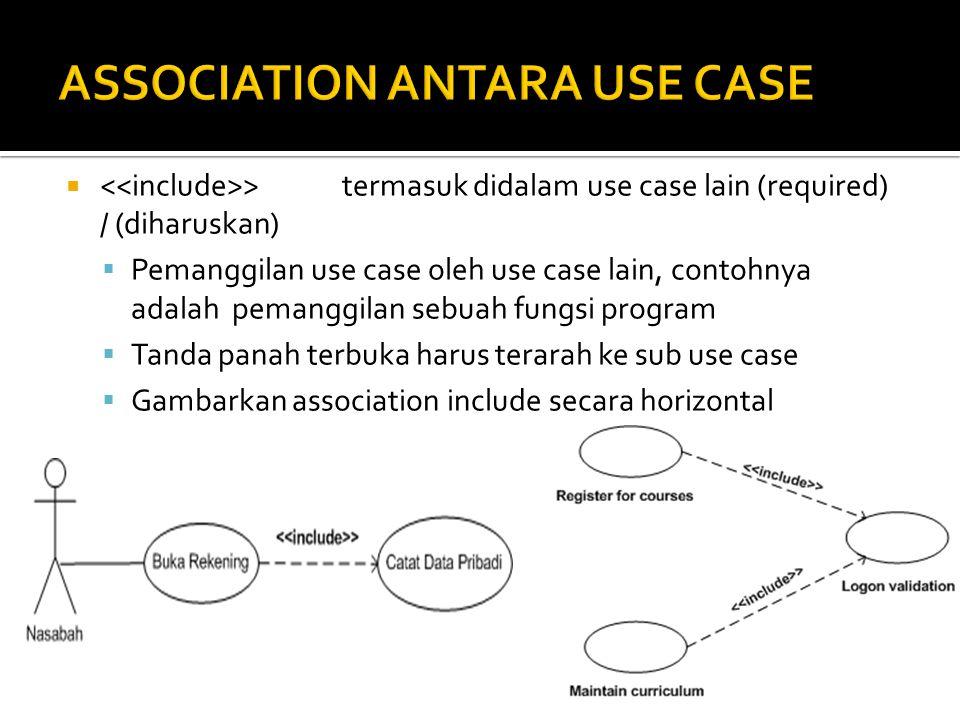  >termasuk didalam use case lain (required) / (diharuskan)  Pemanggilan use case oleh use case lain, contohnya adalah pemanggilan sebuah fungsi program  Tanda panah terbuka harus terarah ke sub use case  Gambarkan association include secara horizontal