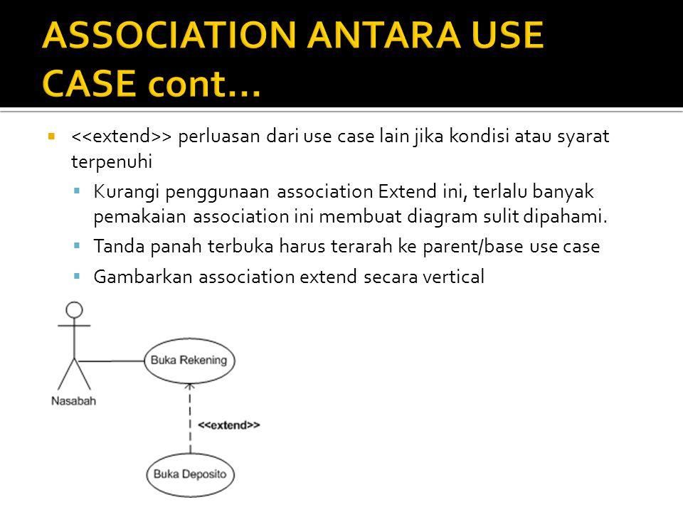  > perluasan dari use case lain jika kondisi atau syarat terpenuhi  Kurangi penggunaan association Extend ini, terlalu banyak pemakaian association