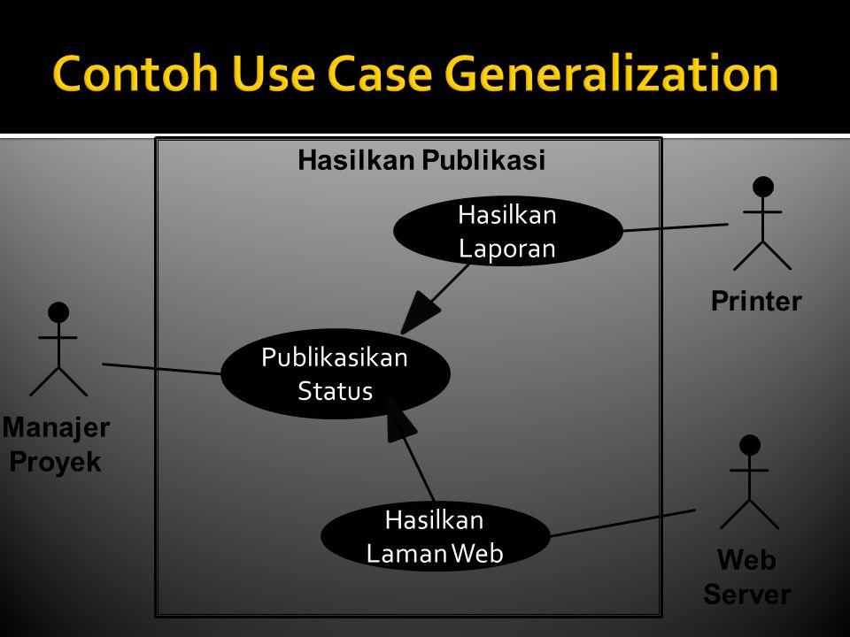 Publikasikan Status Manajer Proyek Hasilkan Laporan Hasilkan Laman Web Printer Web Server Hasilkan Publikasi