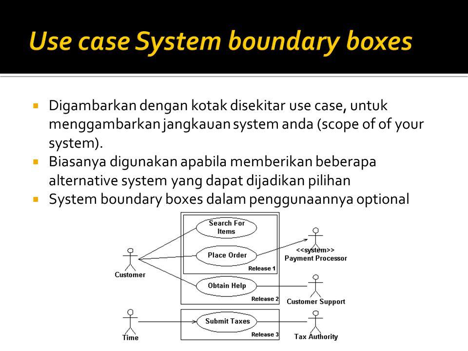  Digambarkan dengan kotak disekitar use case, untuk menggambarkan jangkauan system anda (scope of of your system).  Biasanya digunakan apabila membe