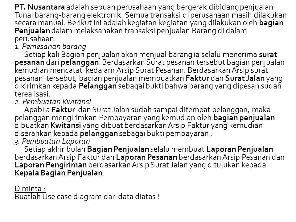 PT. Nusantara adalah sebuah perusahaan yang bergerak dibidang penjualan Tunai barang-barang elektronik. Semua transaksi di perusahaan masih dilakukan