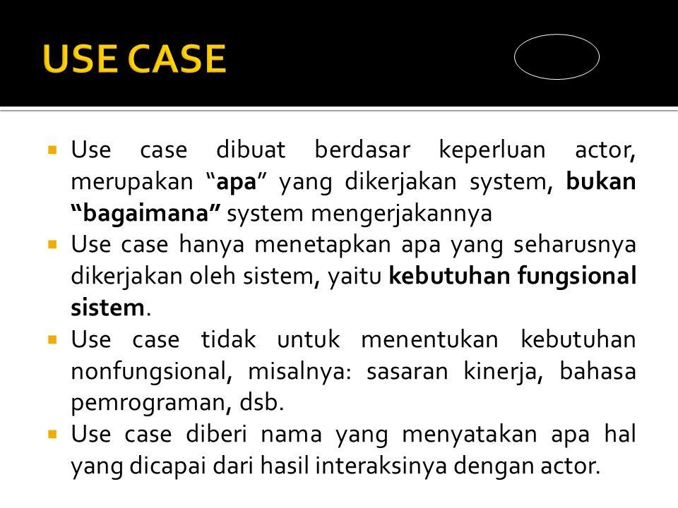  Use case dibuat berdasar keperluan actor, merupakan apa yang dikerjakan system, bukan bagaimana system mengerjakannya  Use case hanya menetapkan apa yang seharusnya dikerjakan oleh sistem, yaitu kebutuhan fungsional sistem.