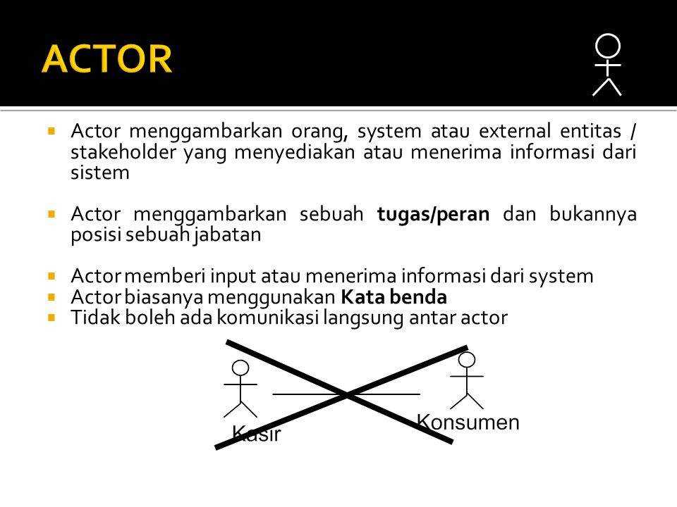  Actor menggambarkan orang, system atau external entitas / stakeholder yang menyediakan atau menerima informasi dari sistem  Actor menggambarkan sebuah tugas/peran dan bukannya posisi sebuah jabatan  Actor memberi input atau menerima informasi dari system  Actor biasanya menggunakan Kata benda  Tidak boleh ada komunikasi langsung antar actor