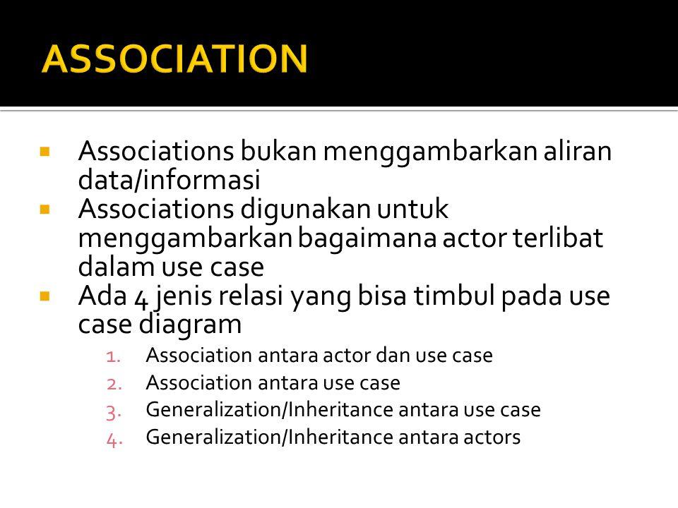  Associations bukan menggambarkan aliran data/informasi  Associations digunakan untuk menggambarkan bagaimana actor terlibat dalam use case  Ada 4 jenis relasi yang bisa timbul pada use case diagram 1.Association antara actor dan use case 2.Association antara use case 3.Generalization/Inheritance antara use case 4.Generalization/Inheritance antara actors