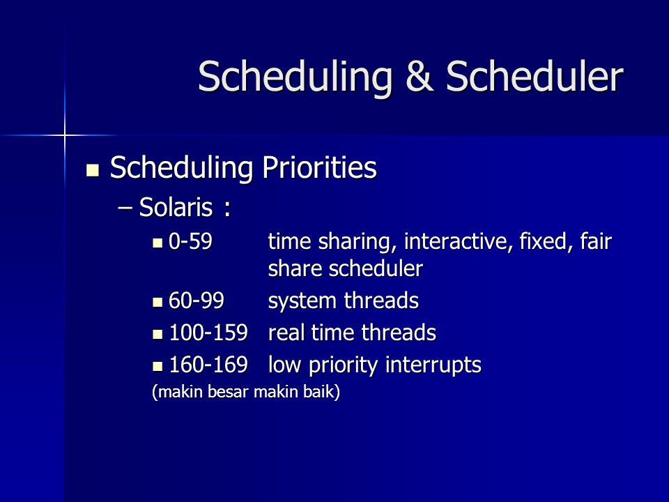 Scheduling & Scheduler Scheduling Priorities Scheduling Priorities –Solaris : 0-59 time sharing, interactive, fixed, fair share scheduler 0-59 time sh