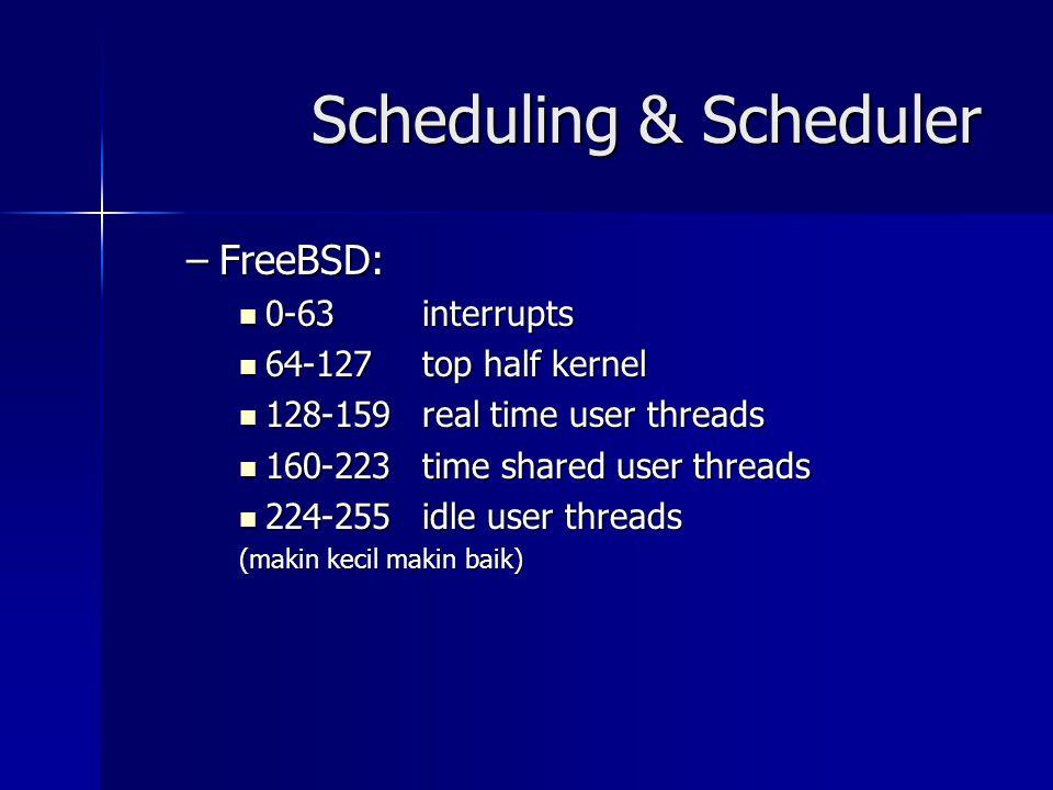 Scheduling & Scheduler –FreeBSD: 0-63 interrupts 0-63 interrupts 64-127top half kernel 64-127top half kernel 128-159real time user threads 128-159real