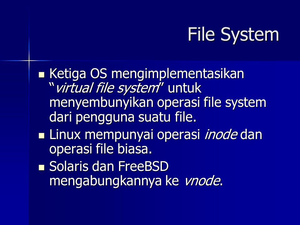 """File System Ketiga OS mengimplementasikan """"virtual file system"""" untuk menyembunyikan operasi file system dari pengguna suatu file. Ketiga OS mengimple"""