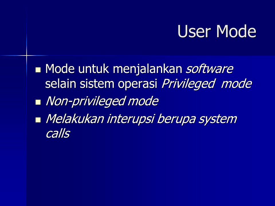 User Mode Mode untuk menjalankan software selain sistem operasi Privileged mode Mode untuk menjalankan software selain sistem operasi Privileged mode