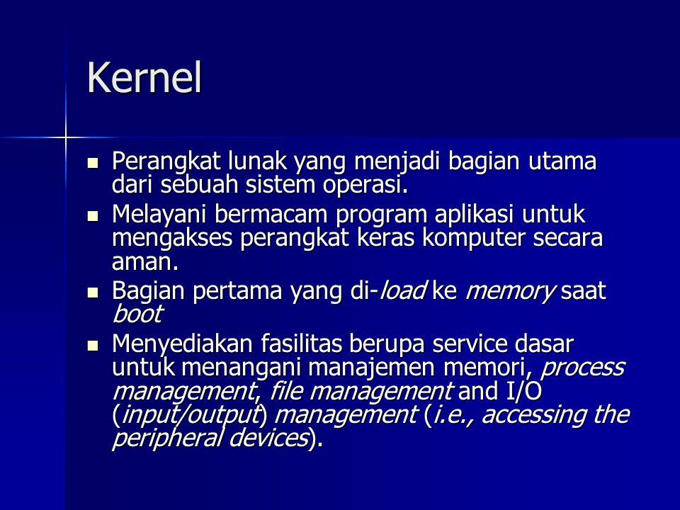 Kernel Perangkat lunak yang menjadi bagian utama dari sebuah sistem operasi. Perangkat lunak yang menjadi bagian utama dari sebuah sistem operasi. Mel